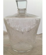 "Vintage Signed Baccarat France Clear Crystal Perfume Bottle White Flowers 5"" - $39.11"