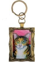Brown Tabby Cat Key Chain Pawcasso Mini Masterpiece Painting Kitty Kitte... - $13.85