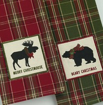 Merry Christmoose Beary Christmas Towels Set of 2 Dish Kitchen Tea Moose... - $19.79
