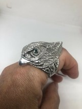Vintage Hawk Ring Cubic Zirconia Stainless Steel Size 8 - $54.45