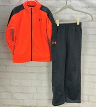 UNDER ARMOUR Athletic Outfit Set: Track Jacket + Pull On Pants Orange Gr... - $30.15