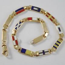 Bracelet or Jaune 750 18K, Drapeaux Nautique 3.5 mm , Email, Fabriqué en... - $818.38