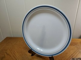 "Rare Vintage Indigo Pattern 10.25"" Dinner Plate By Corelle Corning Blue Gray Rim - $14.85"
