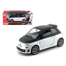 Fiat Abarth 500 White/Black 1/18 Diecast Car Model by Motormax 79168wt/bk - $51.45