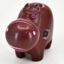Crafts Caravan Soapstone Red Hippopotamus Hippo Figurine Made Kenya image 2