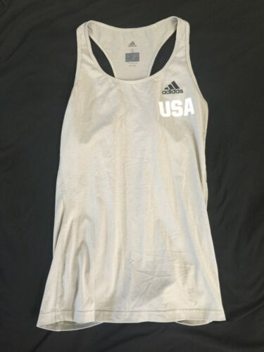 Adidas USA Women Ladies Tennis Tank Top Gray Climalite Small Running Yoga C