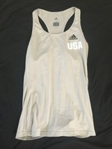 Adidas USA Women Ladies Tennis Tank Top Gray Climalite Small Running Yoga C image 1