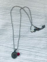 Estate Origami Owl Signed Dainty Beaded Silvertone Chain with Oval Initial B &  - $12.19