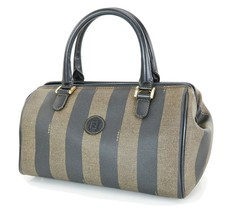 Auth FENDI Black Beige Striped Canvas and Leather Boston Hand Bag Purse #34456 - $249.00