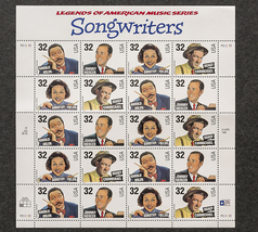 Legends of American Music Series, Songwriters, Sheet of 32 cent stamps - $8.50