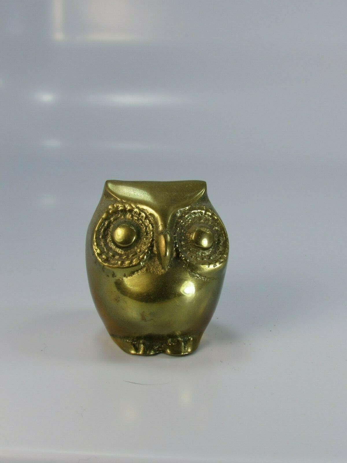 Vintage Brass Owl Bird Paperweight 30044