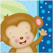 Baby Boy Monkey Lunch Napkins 16 Per Package Baby Shower and Party Supplies - $5.20