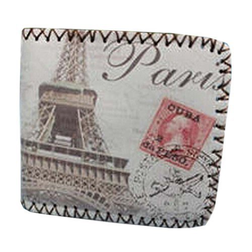 Retro Effeil Tower Men/Women Wallet/Purse Short PU Leather Wallet(4.33.80.5'')