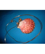 Vintage Jewelry Gold Dipped Shell Pendant Necklace - $14.99