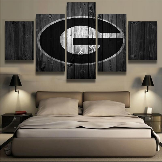 Framed 5 Piece Green Bay Packers Football American Canvasart Wall Art Home D Cor