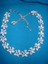 Blue enamel leaf necklace front thumb200