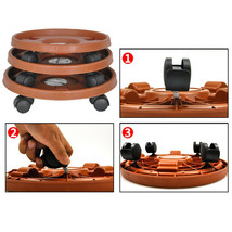 Plant Rack Caddy Round Pot Wheels Potted Duty Heavy With Flower Stand Tr... - $24.80