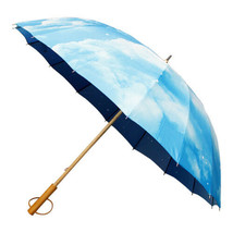 Japanese Pattern Textile Bamboo Umbrella 16 Head Umbrella - Sky - $105.99