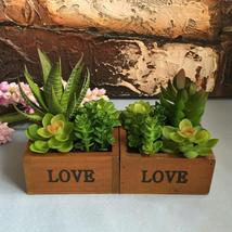 LOVE Wooden Basin Desktop Lotus Succulent Plants Flower Pot Garden  Bonsai - $23.58