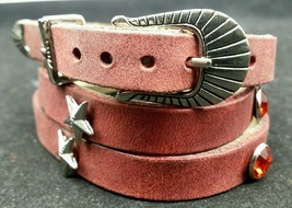 NEW RED HATBAND Leather with RED CRYSTALS & STAR CONCHOS Western Cowboy Hat Band - £16.55 GBP