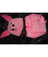 Hand crochet little pink pig beanie/cap/hat & diaper cover costume/photo... - $25.00