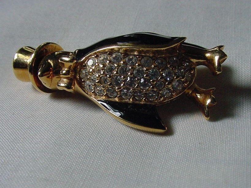 Swarovski Crystal & Enamel Penguin Pin Brooch Top Hat Swan Logo