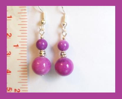 Purplish Pink Gemstone Earrings