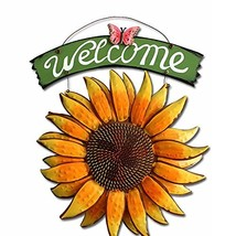 D-Fokes Handcrafts Vintage Metal Butterfly Sunflower Welcome Sign (Color a) - $25.65