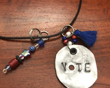 VOTE necklace made from upcycled soda can aluminum