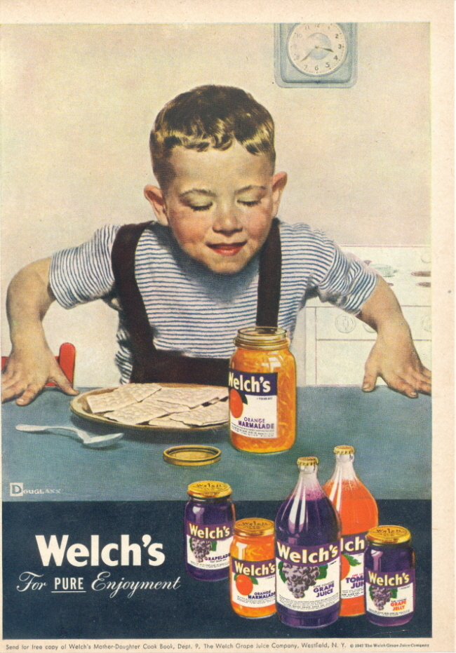 1947 Welch's Jam Marmalade Grape Juice Jelly print ad
