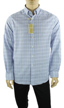 New Mens Michael Kors Slim Fit Non Iron Long Sleeve Blue Plaid Cotton Shirt - $36.99