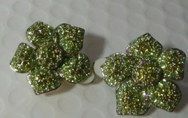 Vintage Green Pave Rhinestone Flower Clip-on Earrings - $45.00
