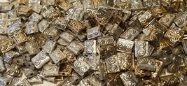 SPIRAL RECTANGULAR Fine Pewter Metal Bead 10X7MM image 2