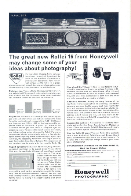 1965 Honeywell Rollei 16 Camera optical system print ad
