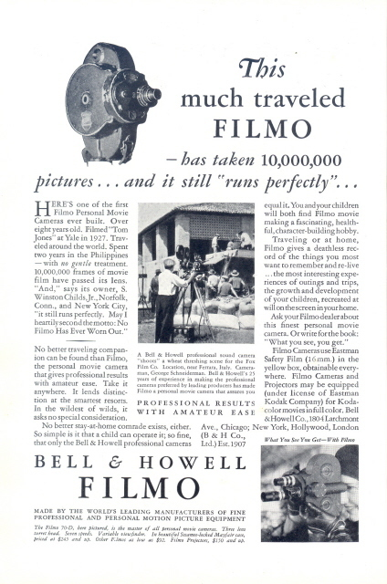 1932 Bell & Howell FILMO Movie Camera on location print ad