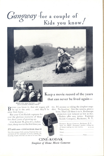 1932 Cine Kodak M Movie Camera wagon kids print ad