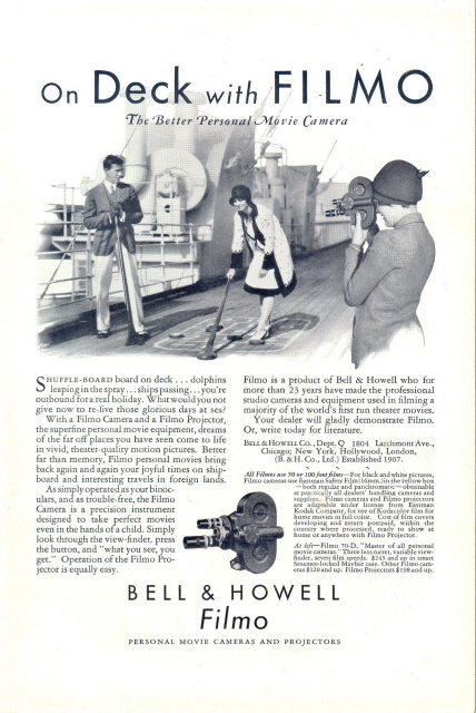 1930 Bell & Howell Camera shuffleboard board on deck print a