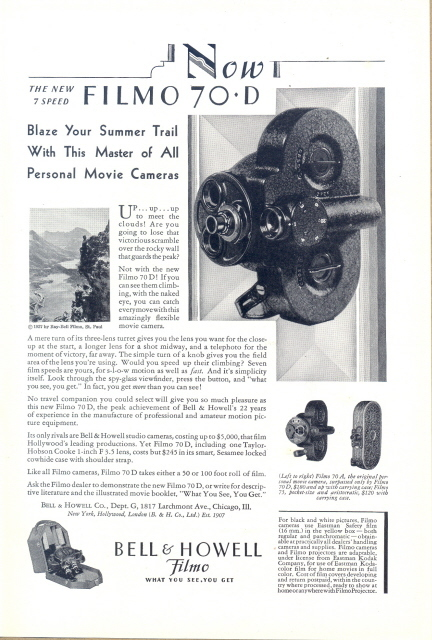 1930 Bell & Howell Filmo 70-D movie camera print ad