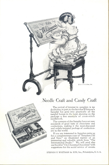 1924 Whitman's Sampler Chocolate girl needle sewing ad