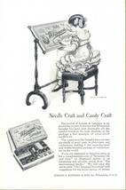 1924 Whitman's Sampler Chocolate girl needle sewing ad - $10.00