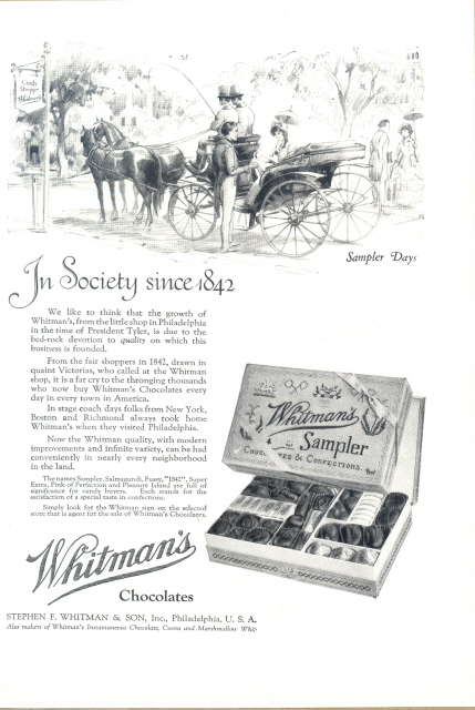 1923 Whitman's Sampler Chocolates sampler days print ad