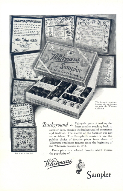 1928 Whitman's Sampler Chocolate framed background print ad