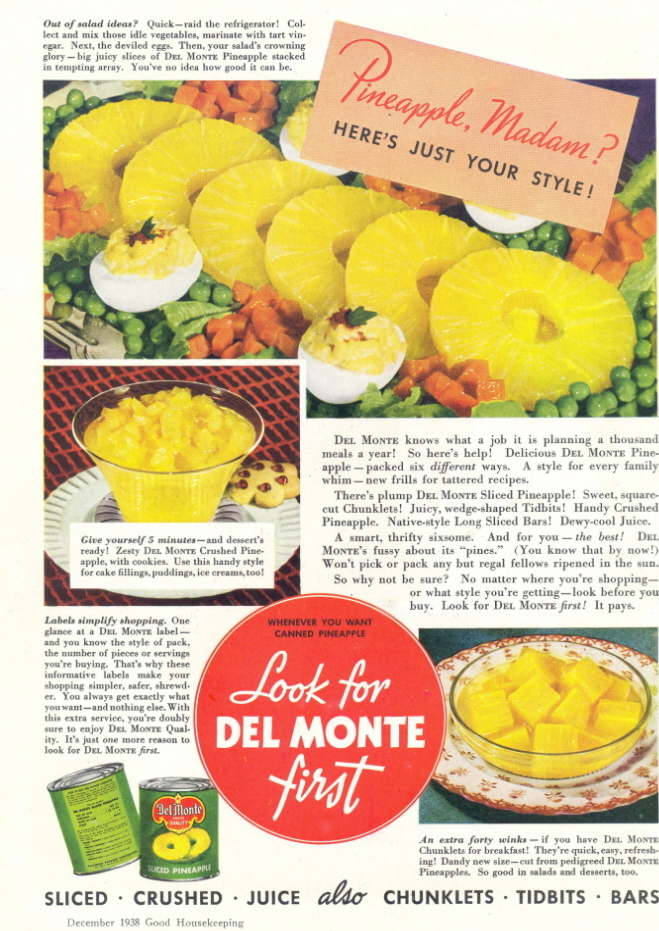 1938 Del Monte Sliced Pineapple canned fruits print ad