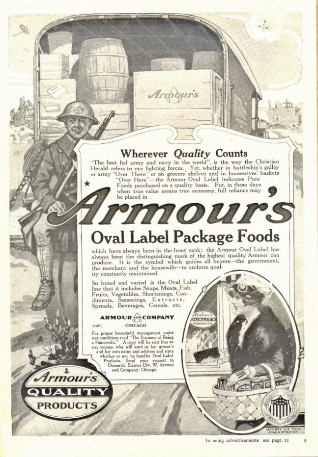 1938 Armour's Oval Label package foods print ad