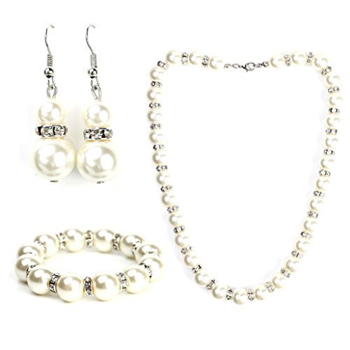 UNITED ELEGANCE Faux Pearl & Crystal Set With Necklace, Drop Earrings & Bracelet - $32.99