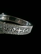 Vintage 20s J.H. Peckham rhodium plated filigree bracelet with buckle detail image 4