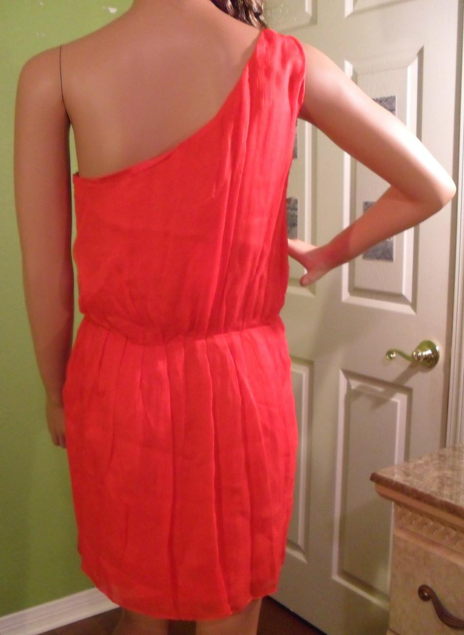 NWT HALSTON HERITAGE Lipstick Red Silk Pleated Dress Sz 6 NEW (MAKE AN OFFER)