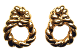 80s AVON Signed Door Knocker Glossy Gold Tone Clip on Earrings in Origin... - $32.00