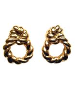 80s AVON Signed Door Knocker Glossy Gold Tone Clip on Earrings in Origin... - $32.00