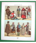 SPAIN Costume of Spain Galicia Peasants - COLOR Antiqe Print  A. RACINET - $9.45